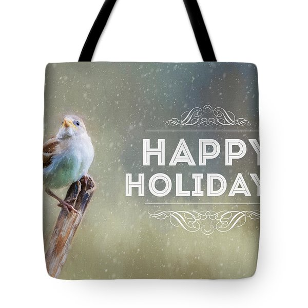 Winter Sparrow Holiday Card Tote Bag