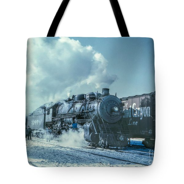 Winter Steam Train Tote Bag by Randy Steele