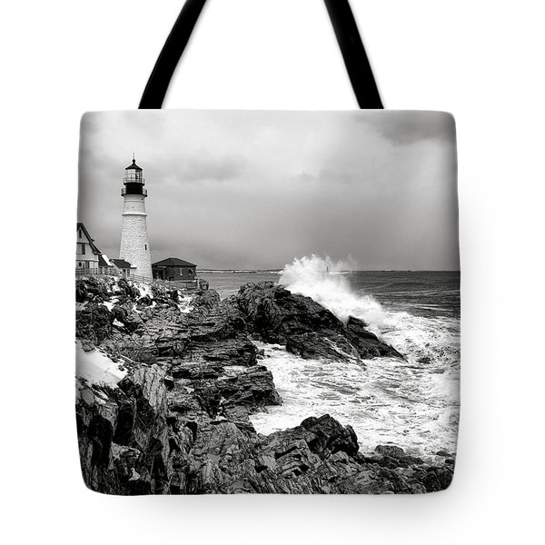 Winter Storm At Portland Head Tote Bag