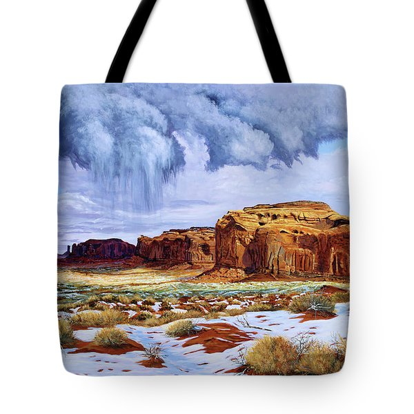 Winter Storm In Mystery Valley Tote Bag