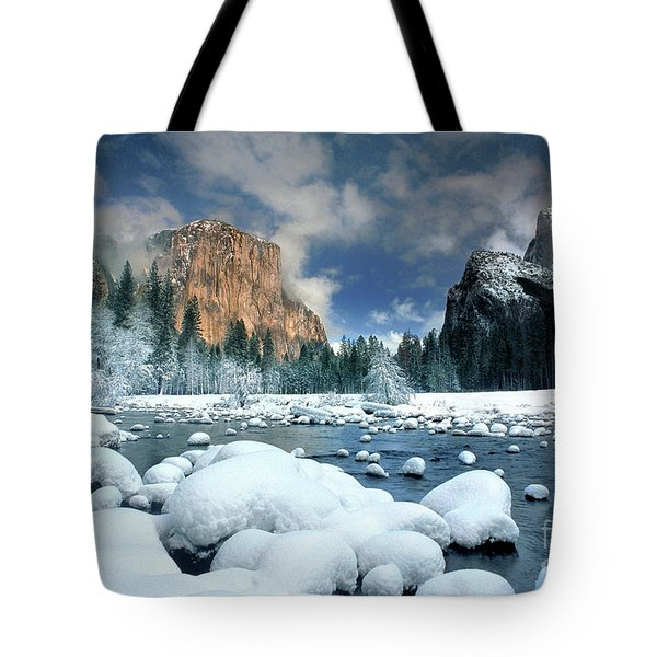 Tote Bag featuring the photograph Winter Storm In Yosemite National Park by Dave Welling