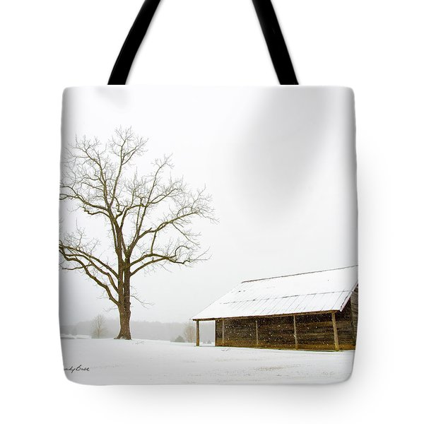 Winter Storm On The Farm Tote Bag by George Randy Bass