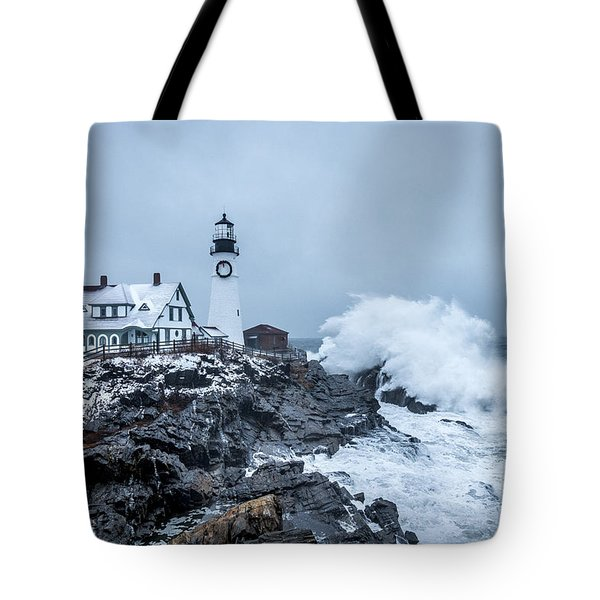 Winter Storm, Portland Headlight Tote Bag