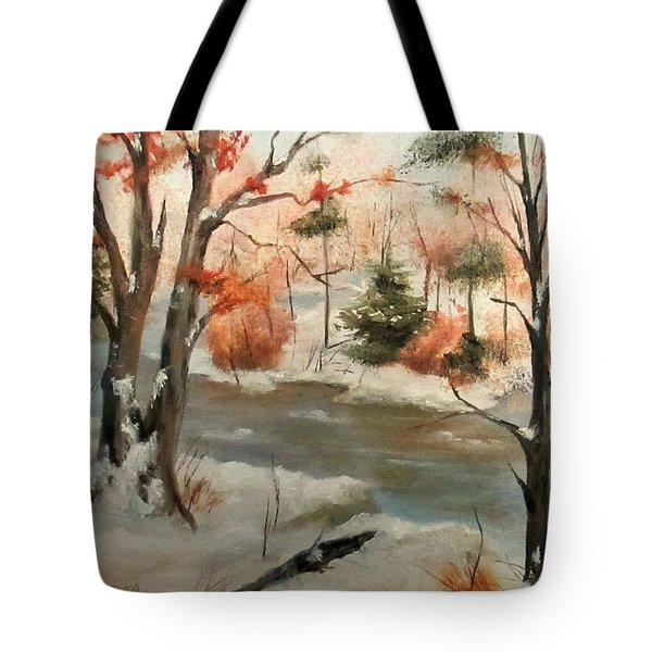 Winter Stream Tote Bag by Roseann Gilmore