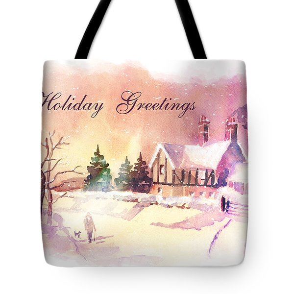 Winter Stroll Card Tote Bag by Arline Wagner