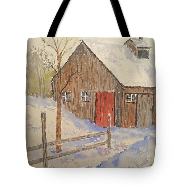 Winter Sugar House Tote Bag by Stanton Allaben