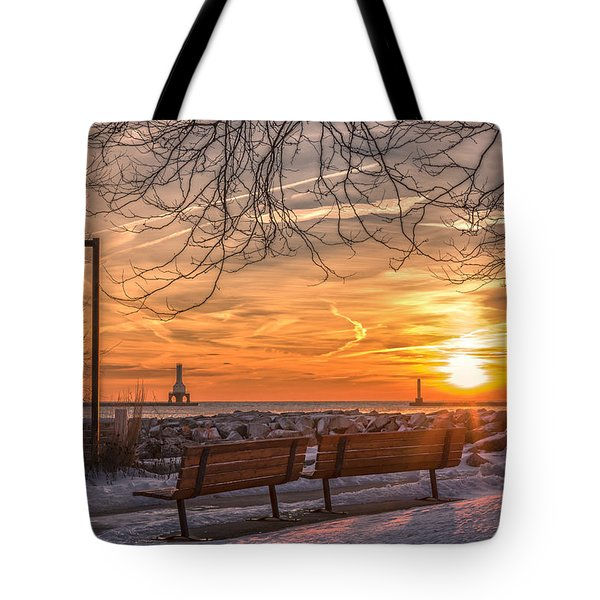 Winter Sunrise In The Park Tote Bag