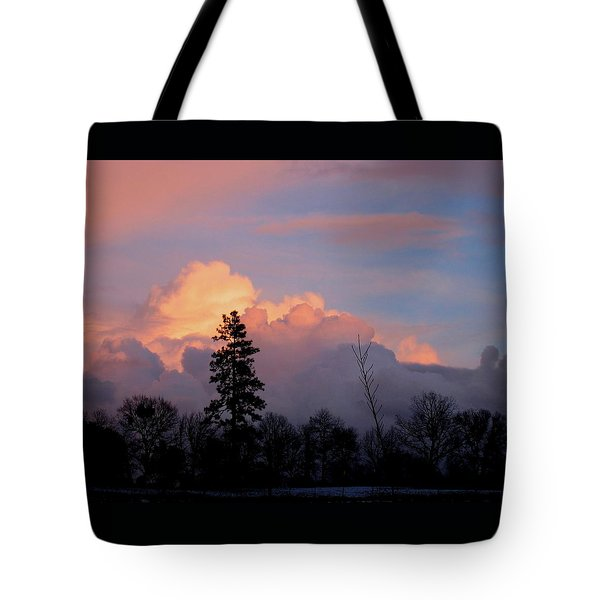 Winter Sunrise Nevada County California Tote Bag