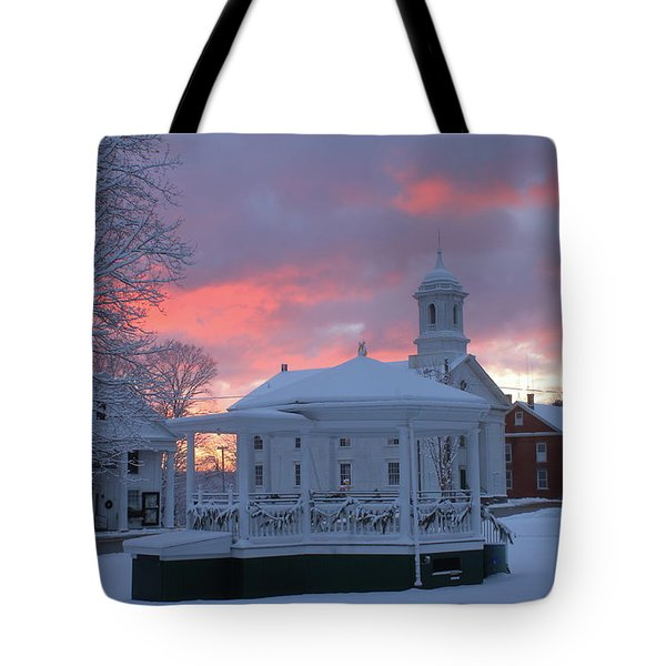Winter Sunrise On The Common Tote Bag by John Burk