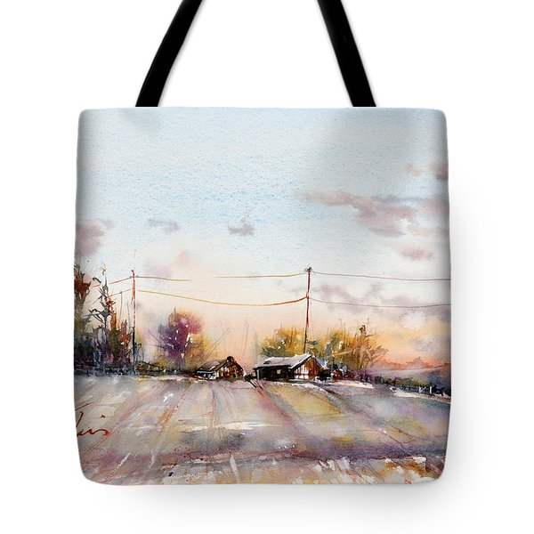 Winter Sunrise On The Lane Tote Bag by Judith Levins