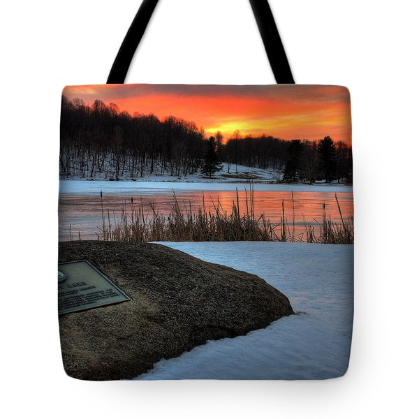 Winter Sunset Abbott Lake Tote Bag