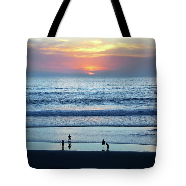 Tote Bag featuring the photograph Winter Sunset At Carmel Beach by Susan Wiedmann