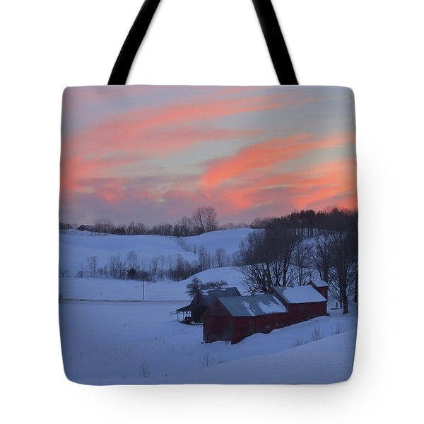 Winter Sunset At Jenne Farm Vermont Tote Bag by John Burk