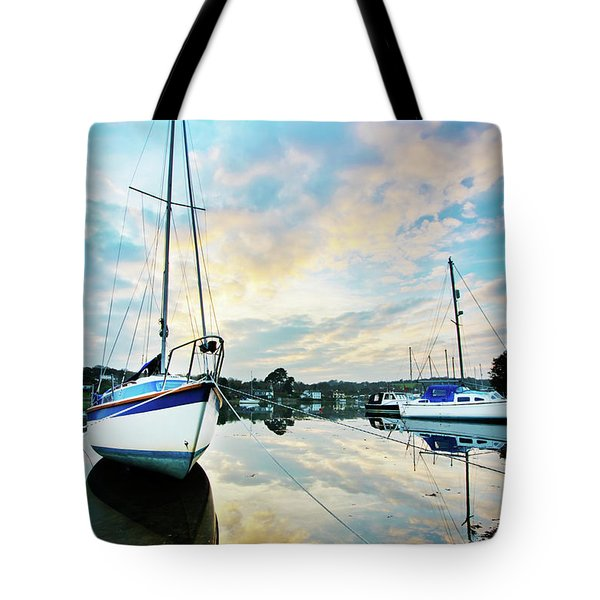 Winter Sunset At Mylor Bridge Tote Bag