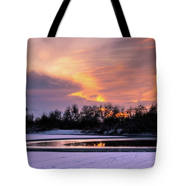 Tote Bag featuring the photograph Winter Sunset by Bryan Carter