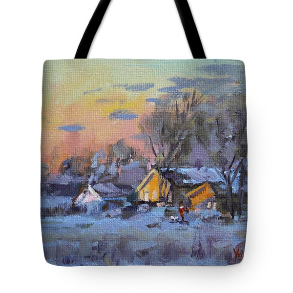 Winter Sunset In The Farm Tote Bag