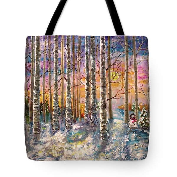 Dylan's Snowman - Winter Sunset Landscape Impressionistic Painting With Palette Knife Tote Bag