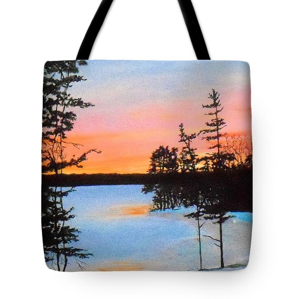 Winter Sunset Laurel Lake Lenox Ma Tote Bag by William Tremble