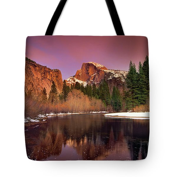 Tote Bag featuring the photograph Winter Sunset Lights Up Half Dome Yosemite National Park by Dave Welling