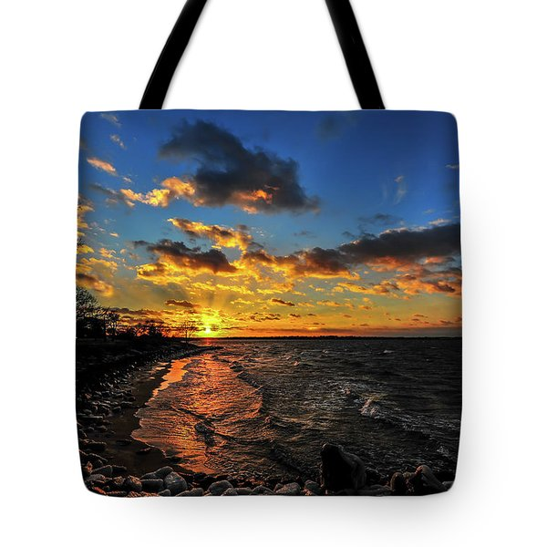 Winter Sunset On A Chesapeake Bay Beach Tote Bag