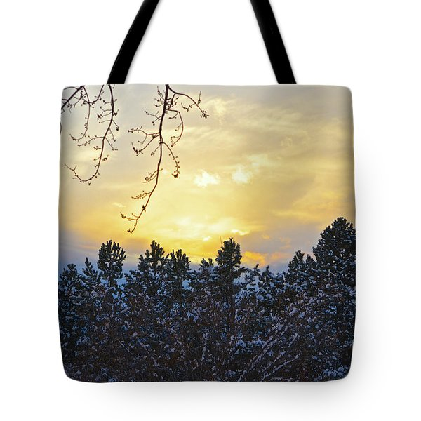 Winter Sunset On The Tree Farm #1 Tote Bag