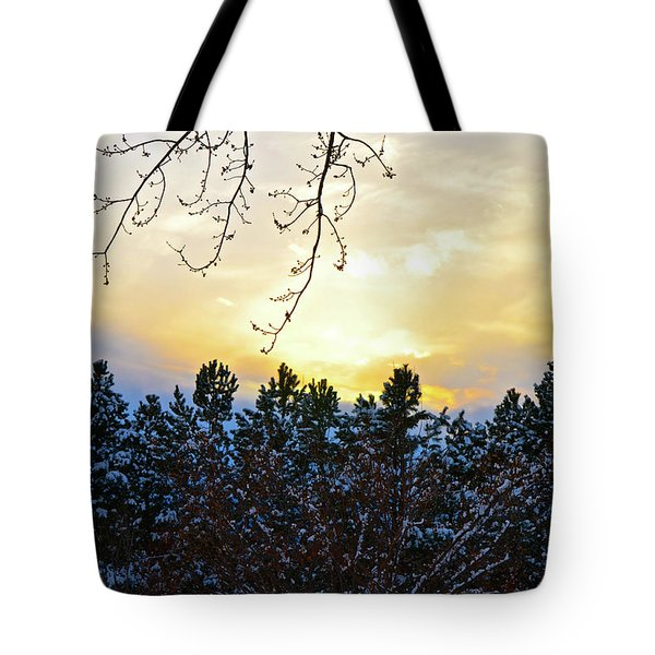 Winter Sunset On The Tree Farm #2 Tote Bag