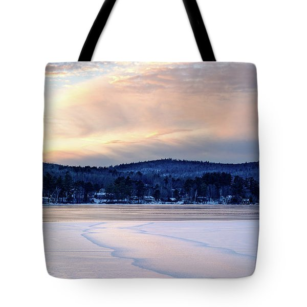 Winter Sunset On Wilson Lake In Wilton Me  -78091-78092 Tote Bag