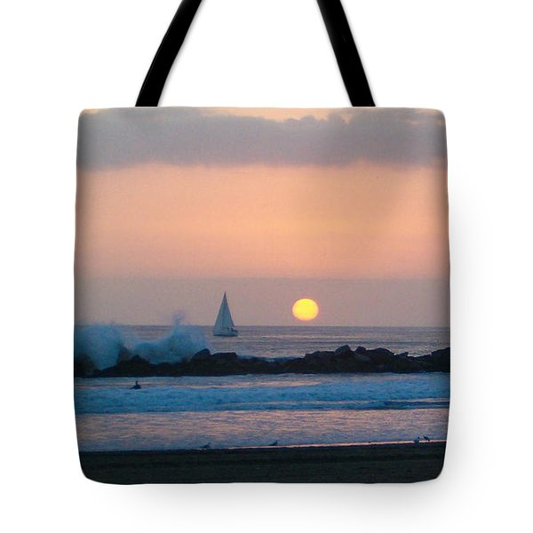 Winter Sunset, Venice Breakwater Tote Bag by Mark Barclay
