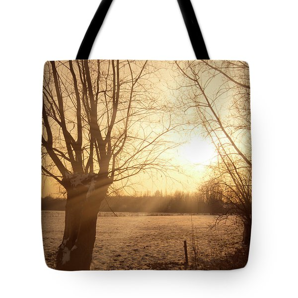 Winter Sunset Tote Bag by Wim Lanclus