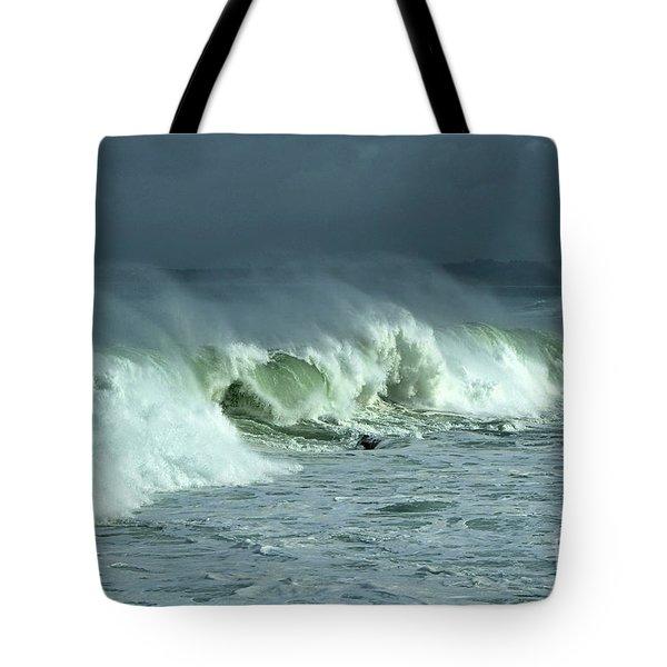 Winter Surf On Monterey Bay Tote Bag