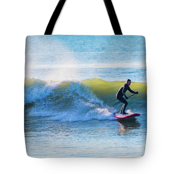 Winter Surfing In Aberystwyth Tote Bag