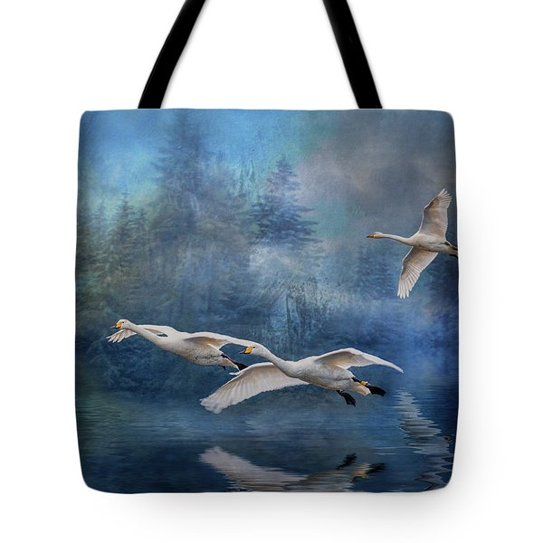 Winter Swans Tote Bag by Brian Tarr