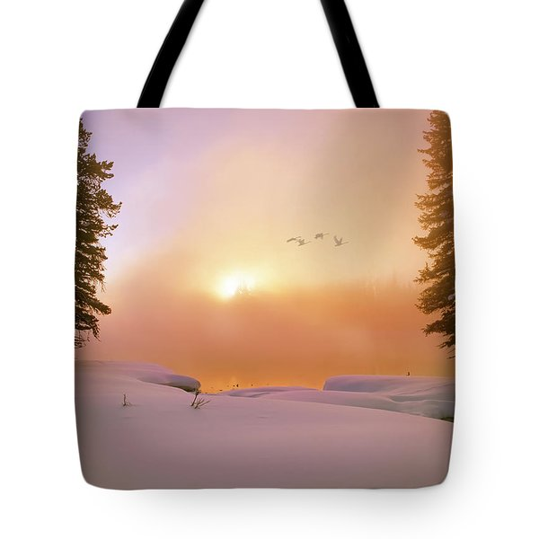 Winter Swans Tote Bag by Leland D Howard