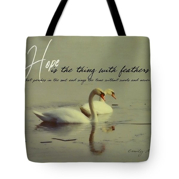Winter Swans Quote Tote Bag by JAMART Photography
