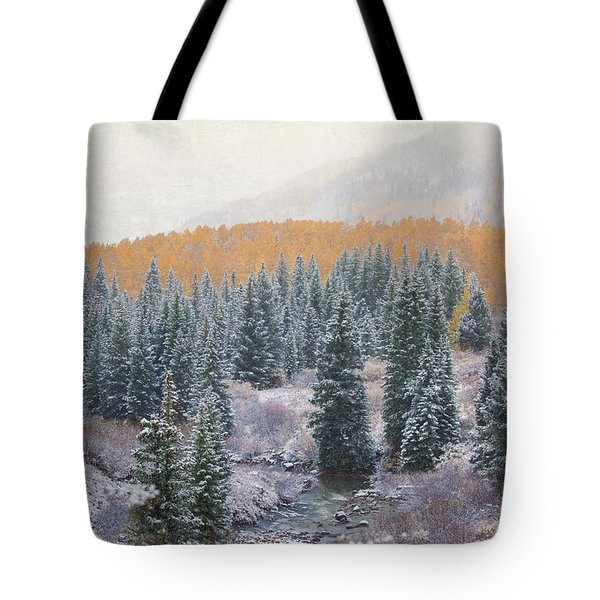 Winter Touches The Mountain Tote Bag