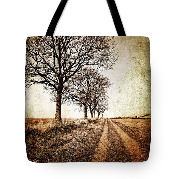 Winter Track With Trees Tote Bag