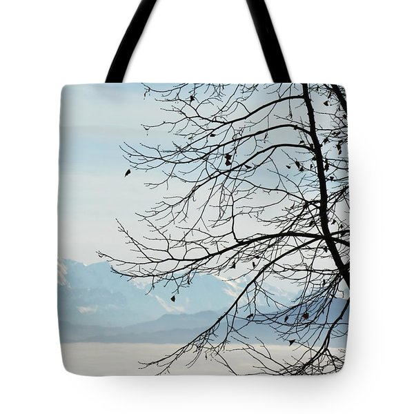 Winter Tree And Alps Mountains Upon The Fog Tote Bag