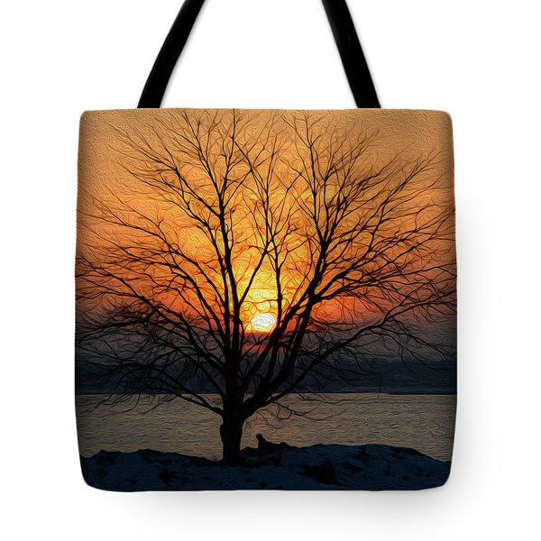 Tote Bag featuring the photograph Winter Tree Sunrise by SimplyCMB