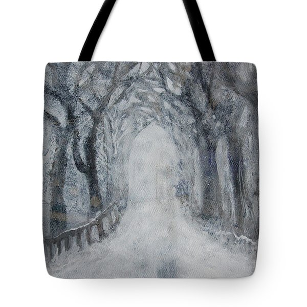 Tote Bag featuring the painting Winter Tree Tunnel by Robin Maria Pedrero