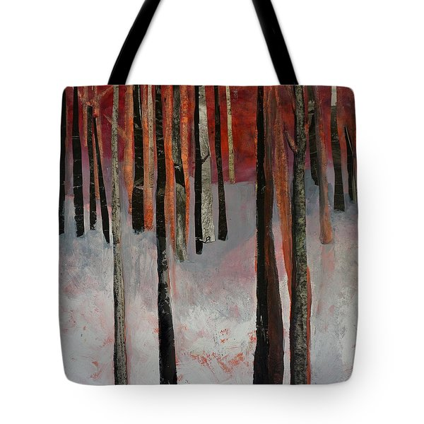 Tote Bag featuring the mixed media Winter Trees 1 by Jillian Goldberg