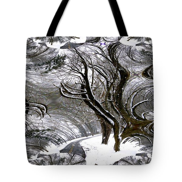 Winter Trees Abstract Tote Bag
