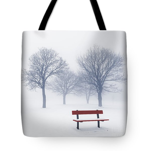 Winter Trees And Bench In Fog Tote Bag