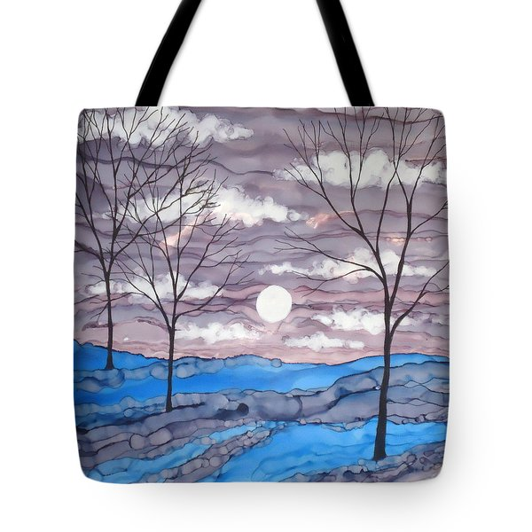 Winter Trees And Moon Landscape Tote Bag