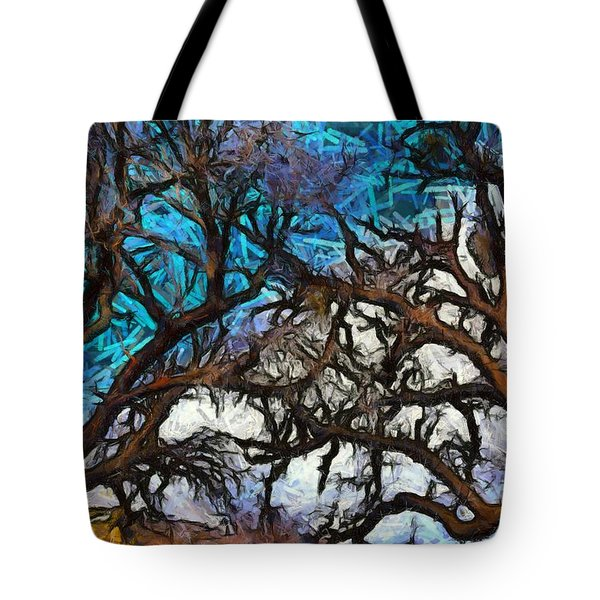 Tote Bag featuring the photograph Winter Trees At Fort Tejon Lebec California Abstract by Floyd Snyder