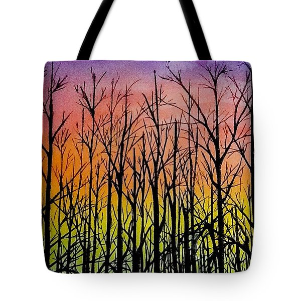 Tote Bag featuring the painting Winter Trees At Sunset by Ellen Canfield