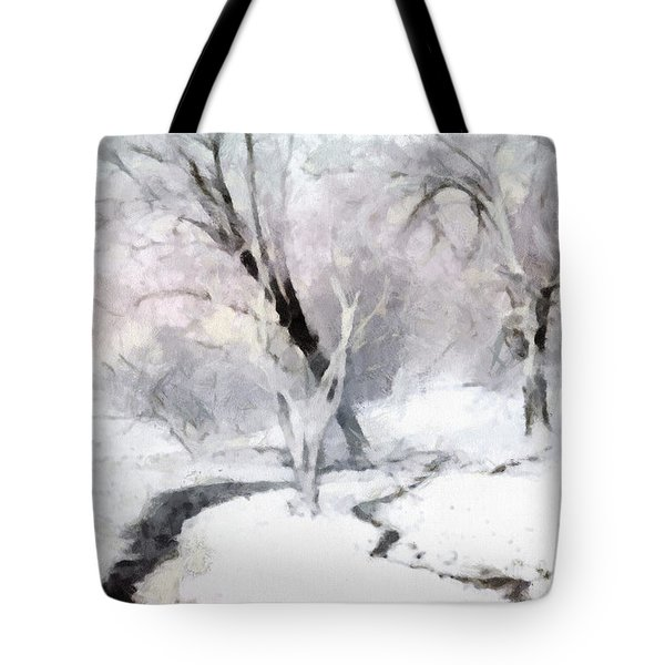 Tote Bag featuring the digital art Winter Trees by Francesa Miller
