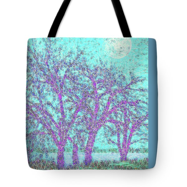 Tote Bag featuring the digital art Winter Trees In Moonlight Blue - Boulder County Colorado by Joel Bruce Wallach