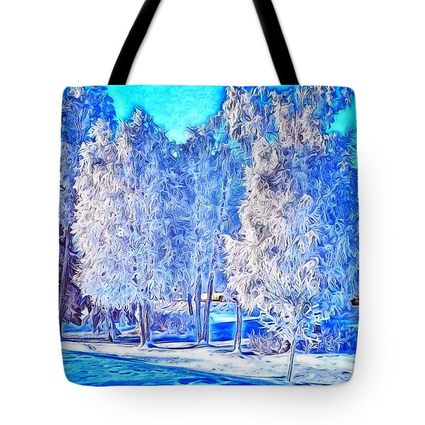 Winter Trees Tote Bag by Ron Bissett