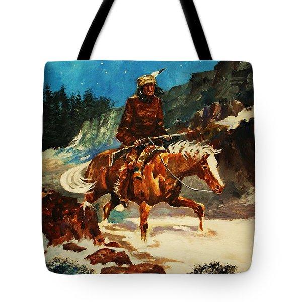 Tote Bag featuring the painting Winter Trek by Al Brown