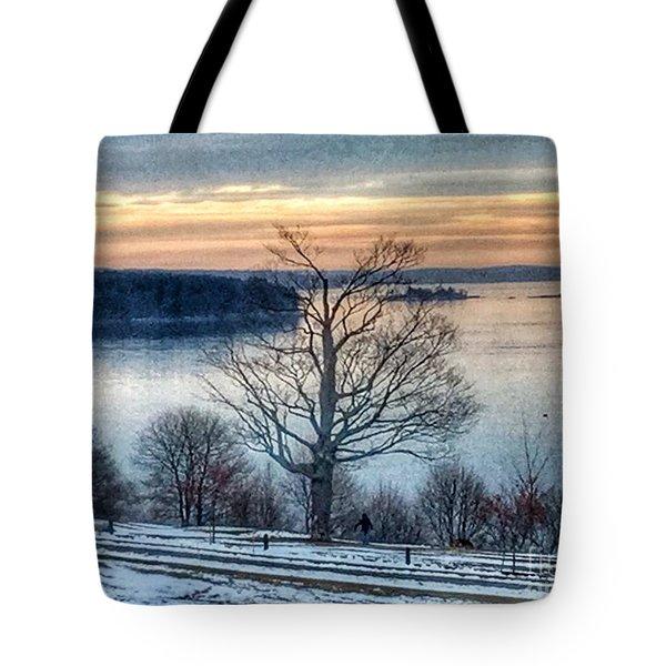 Winter Twilight At Fort Allen Park Tote Bag